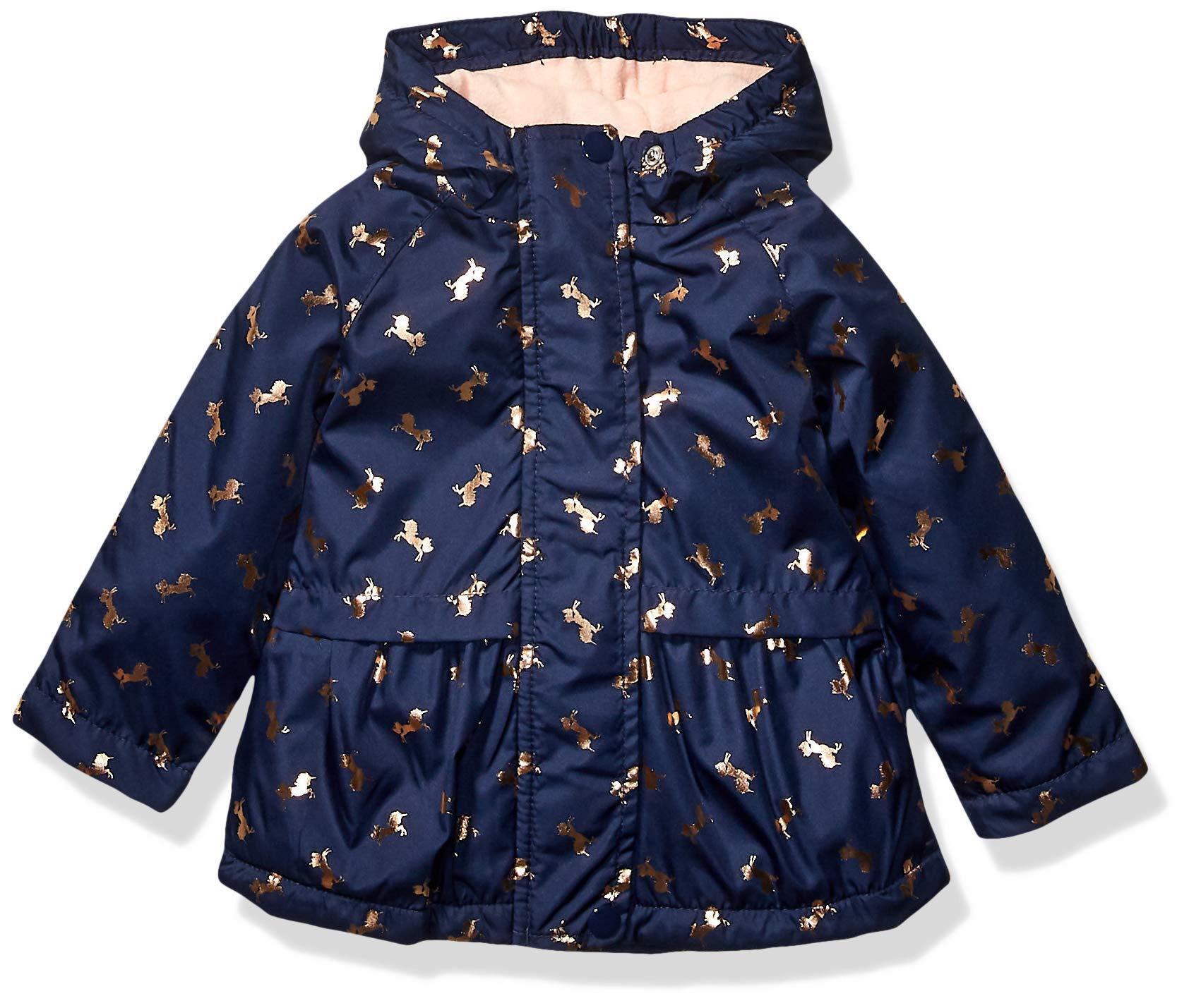 Osh Kosh Baby Girls Midweight Jacket with Fleece Lining, Gold Unicorns On Navy, 18Mo by OshKosh B'Gosh