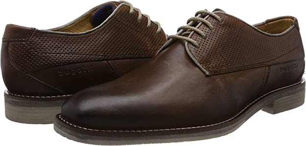 Details about  /Mens Bugatti Rounded Toe Formal Lace Up Heeled Leather Shoes 311-67703-1100
