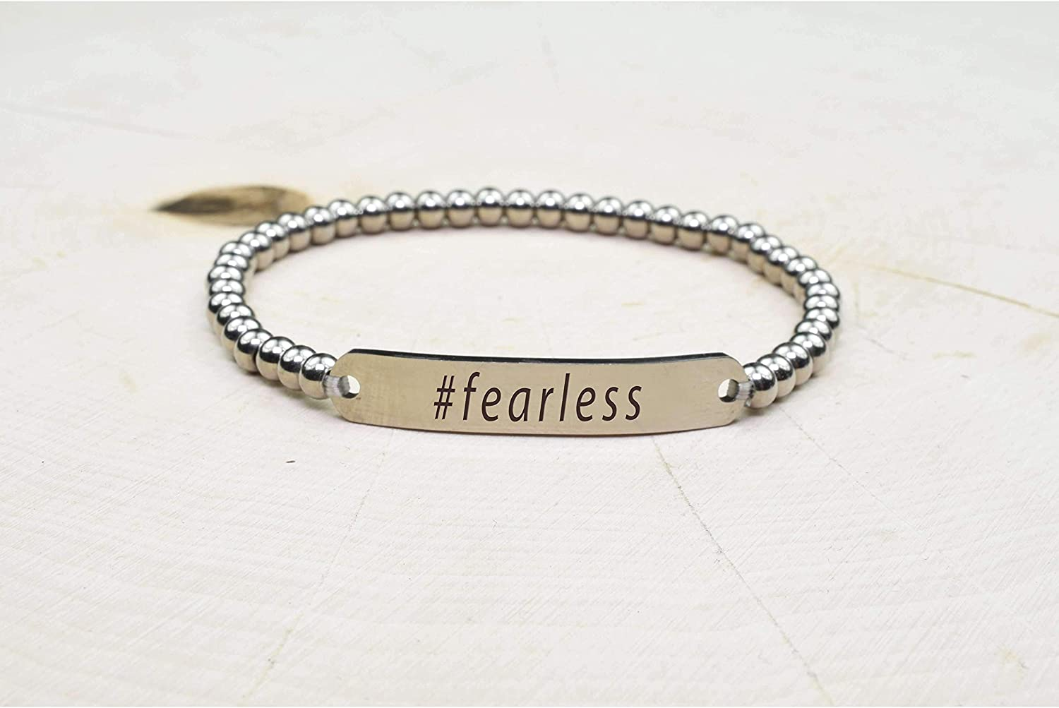 Silver Fearless Pink Box Solid Stainless Steel Beaded Hashtag Bracelet