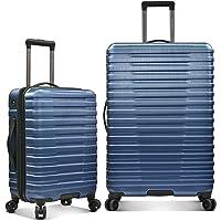 U.S. Traveler Boren Polycarbonate Hardside Rugged Travel Suitcase Luggage with 8 Spinner Wheels, Aluminum Handle, Navy…