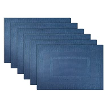 DII Everyday, Easy to Clean Indoor/Outdoor Woven Vinyl Double Border Placemats, 13x17.75 , Nautical Blue - Set of 6