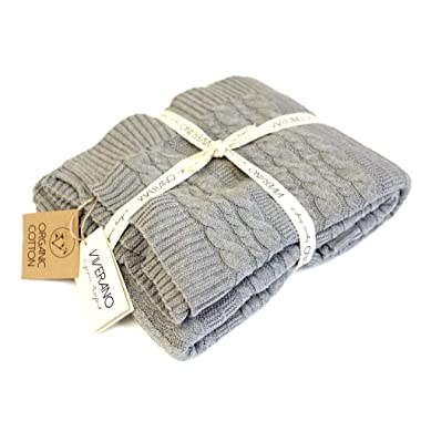 Viverano 100% Organic Cotton Throw Cable Knit Blanket (50 x70 ) Super Soft Warm Luxurious Pure All-Season Eco-Friendly (Grey)