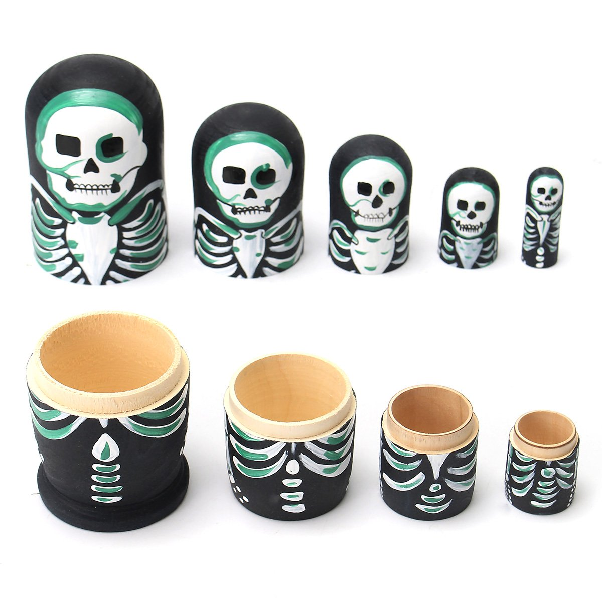 Jeteven 5Pcs Nesting Dolls Matryoshka Russian Stacking Dolls Wooden Nested Set Skull Handmade Painted Toys for Children Kids