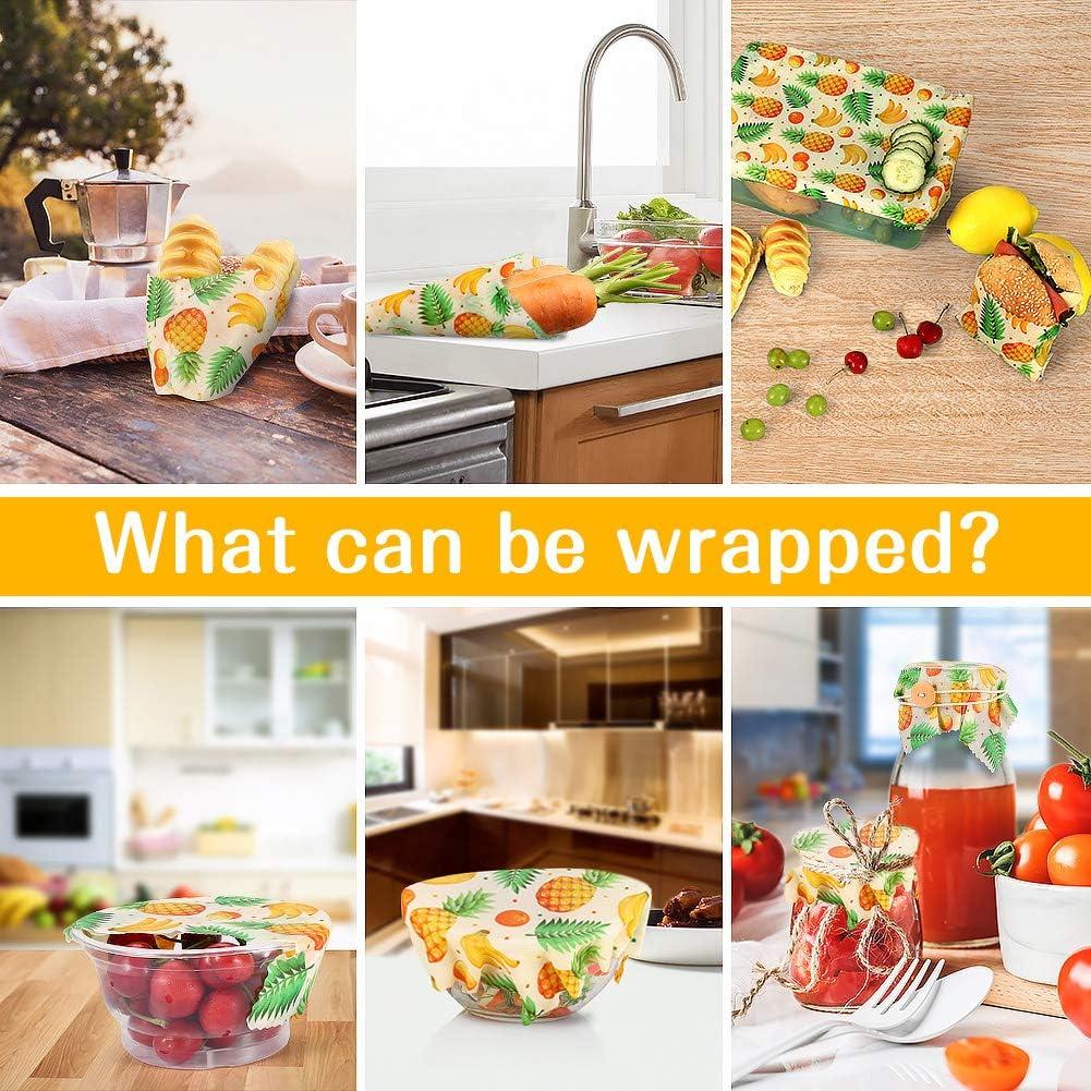 Natural Papel para Comida y Bocadillos Lavable VIEWLON Envoltorio de Cera de Abeja Juego de 3 Envoltorios Ecol/ógicos de Papel para Envolver y Conservar Alimentos Reutilizable y Biodegradable