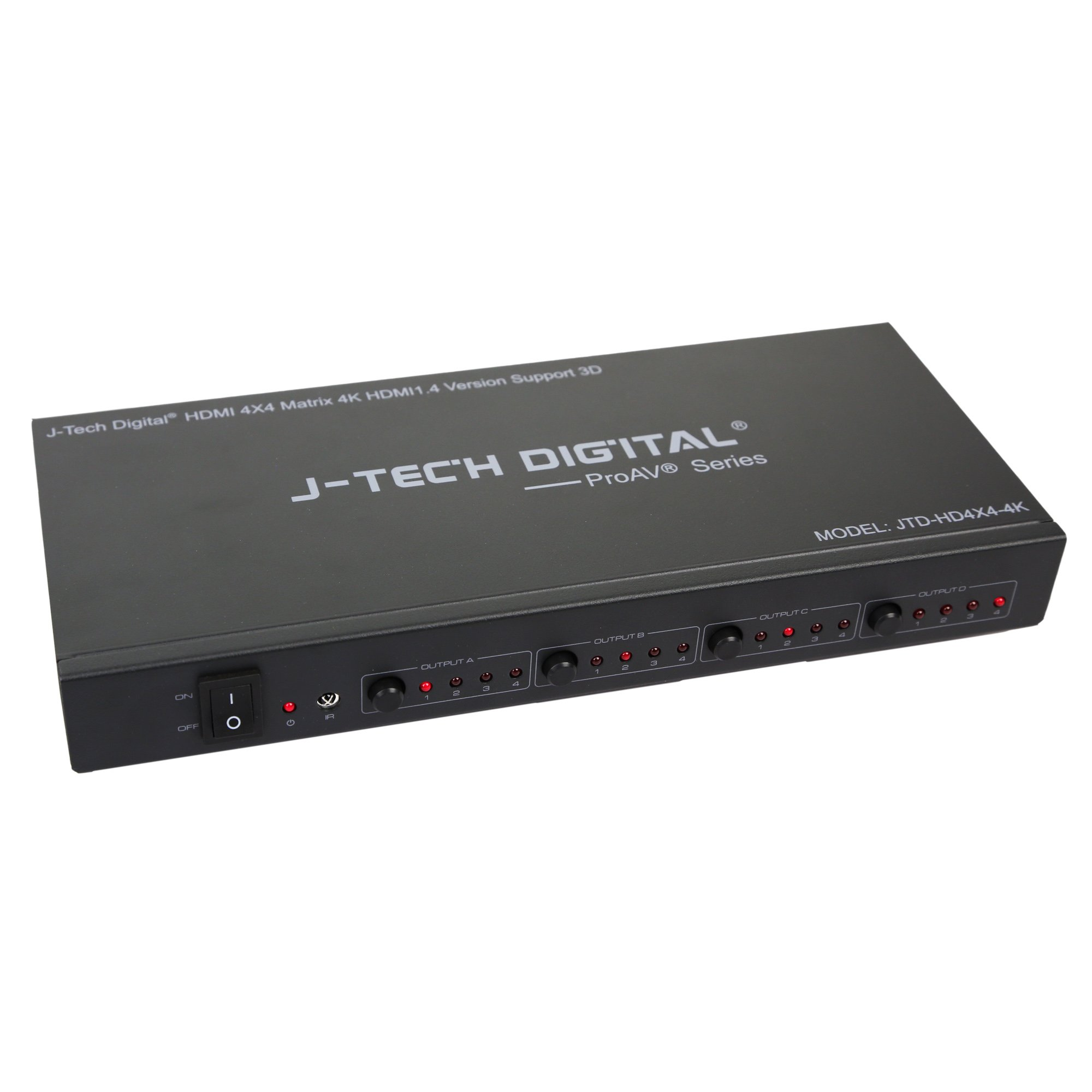 J-Tech Digital ProAV Ultra HD 4K HDMI 4X4 Matrix Switcher 4 Ports Inputs and 4 Port Outputs supports 4Kx2K@30HZ, HDCP, 3D & Deep Color, HDMI 1.4 Compliant