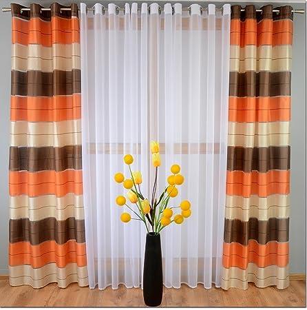 M Textiles PAIR STRIPED VOILE CURTAINS EYELET TOP 57quot X 90quot