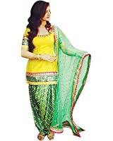 Briva Women's Cotton Dress Material (BR_SSDMY_Free Size_Yellow Green)