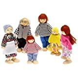 Arshiner Wooden Happy Doll Family of 6 People