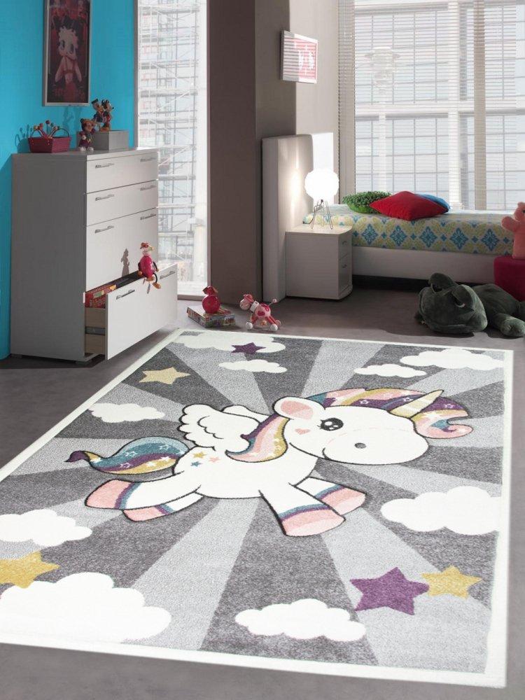 Kinderteppich Spielteppich Babyteppich mit Einhorn Regenbogen in Grau Creme Größe 140x200 cm