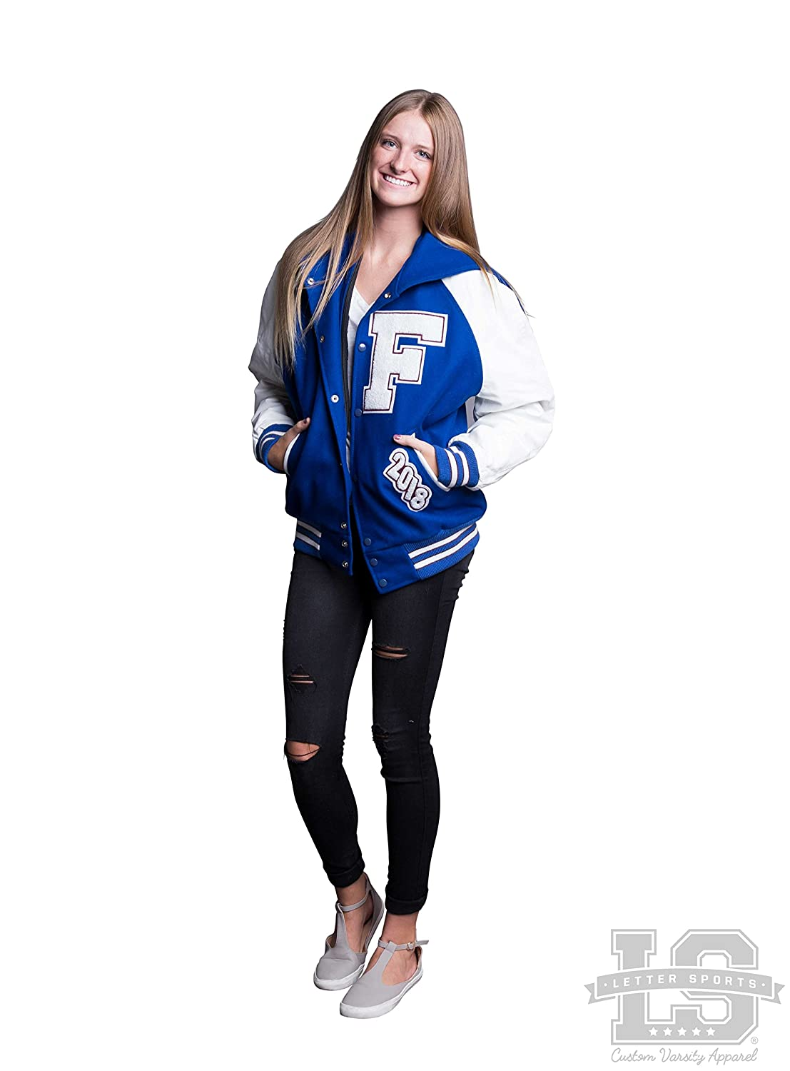 Womens Varsity Letter Jacket White Leather & Royal Blue Wool with Zipper Hood