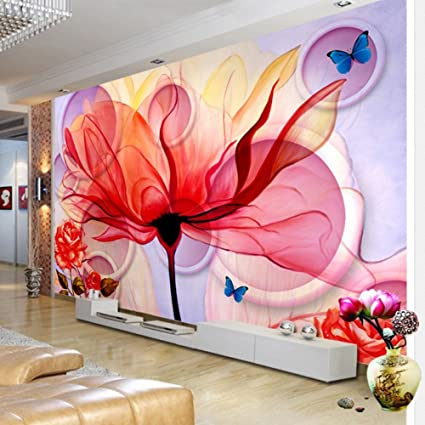 Colomac Wall Mural Modern Abstract Colored Flowers White Circle ...