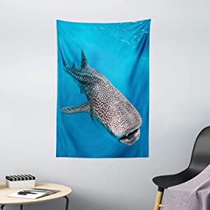"Ambesonne Sea Animals Tapestry, Whale Shark Swimming Predators Hunter Clear Water Under The Sea Picture Print, Wall Hanging for Bedroom Living Room Dorm Decor, 40"" X 60"", Dimgray Blue"