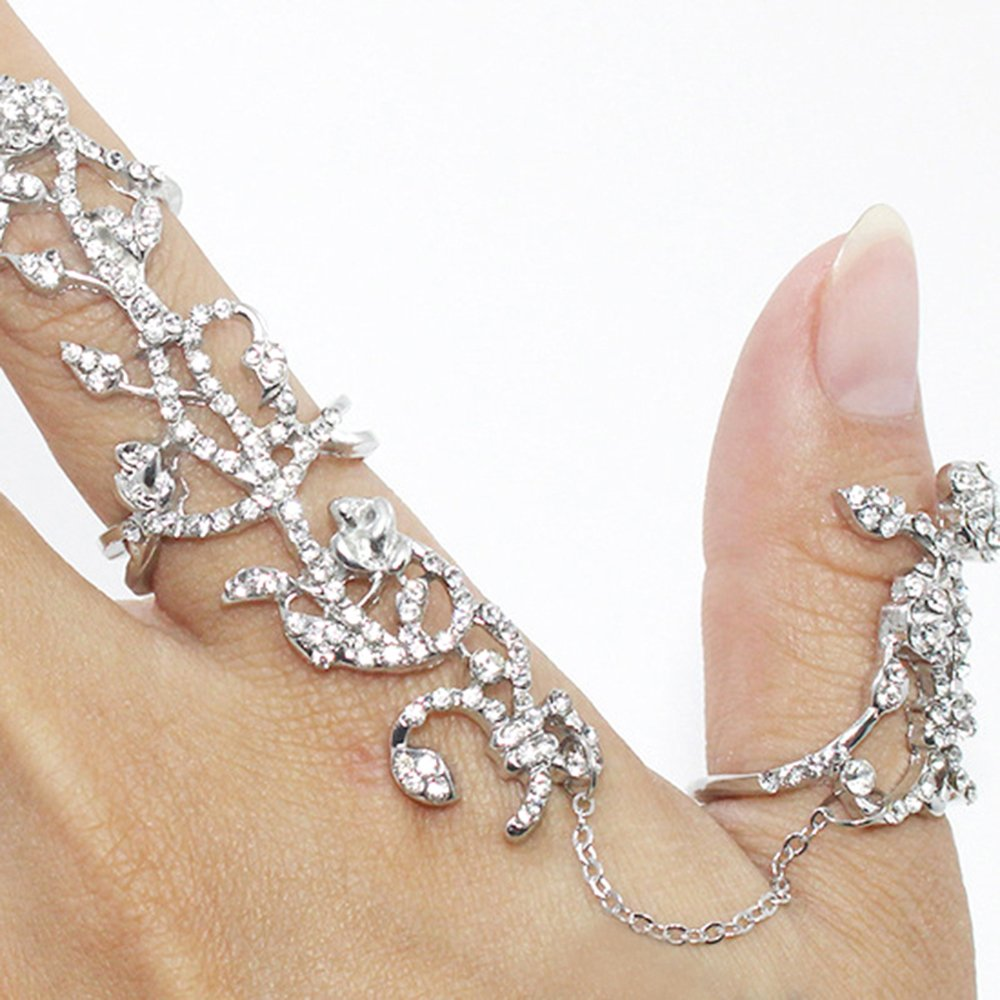 Personalized Womens Girls Multiple Rhinestone Stack Knuckle Ring Finger Jewelry (Golden) Phoenix B2C UK
