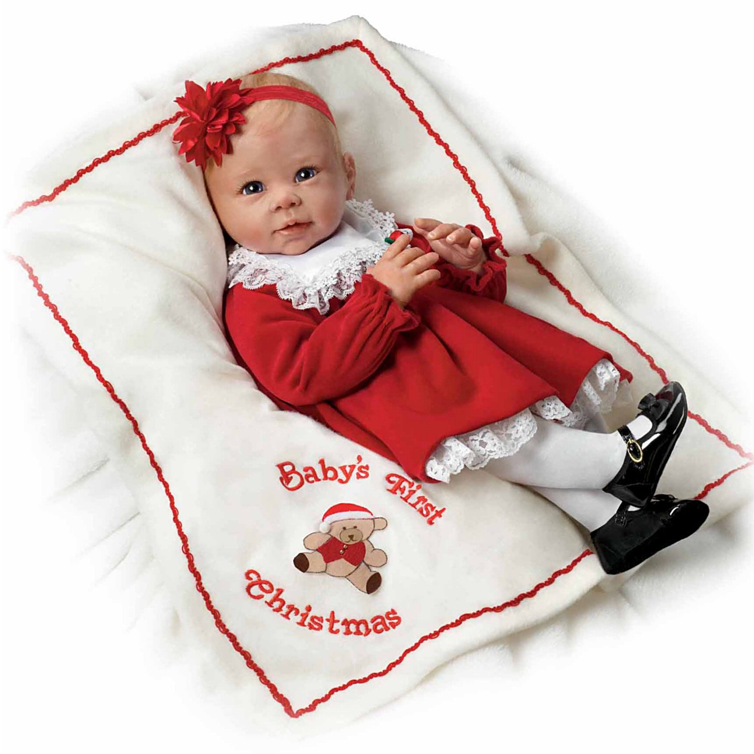 21'' Ashton Drake Baby's First Christmas with Basket and Teddy Bear Signature Edition Doll NEW 2014 0302034001 THINK CHRISTMAS!! by The Ashton-Drake Galleries by The Ashton-Drake Galleries