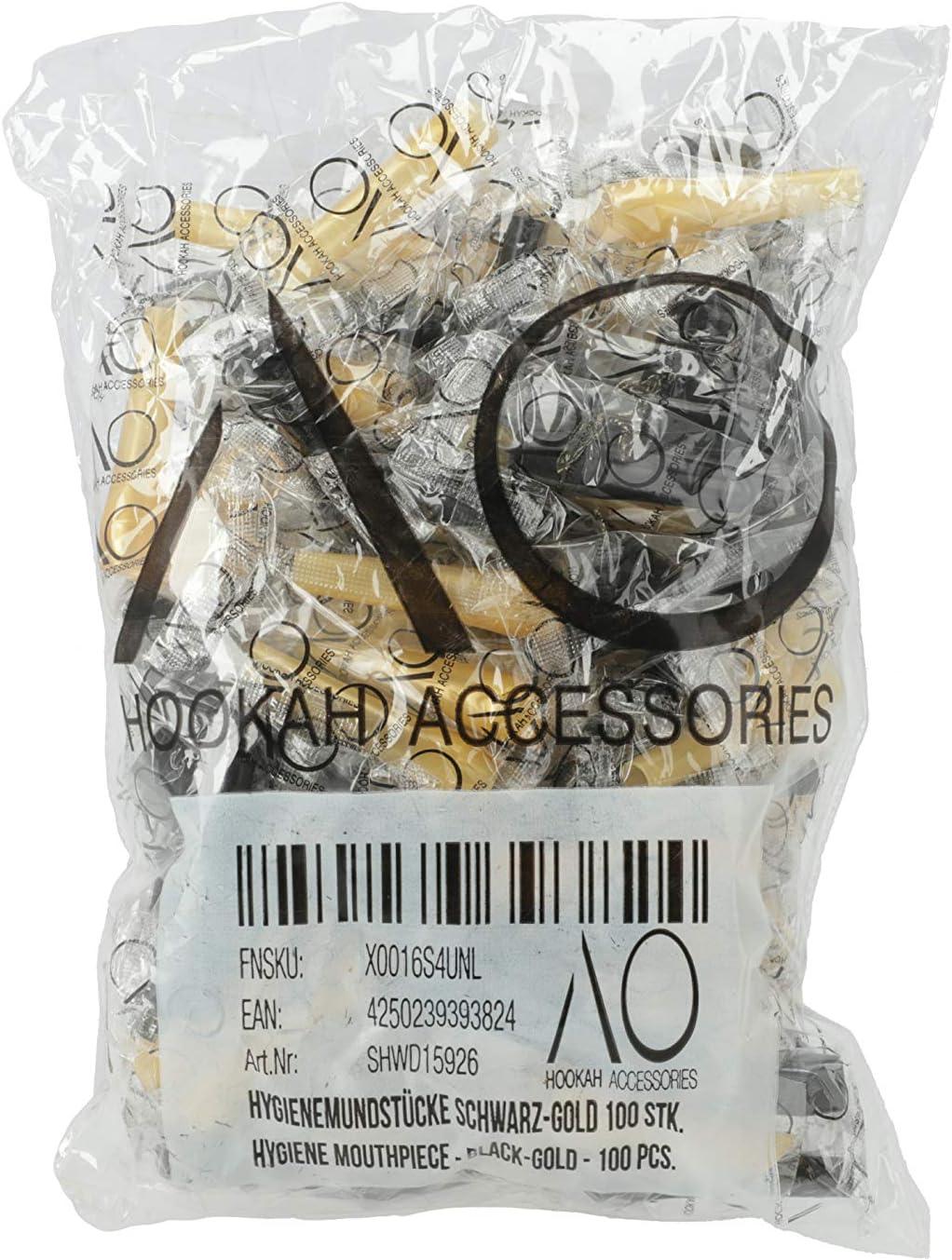 AO - Boquillas higiénicas para cachimba (100 unidades), color negro y dorado