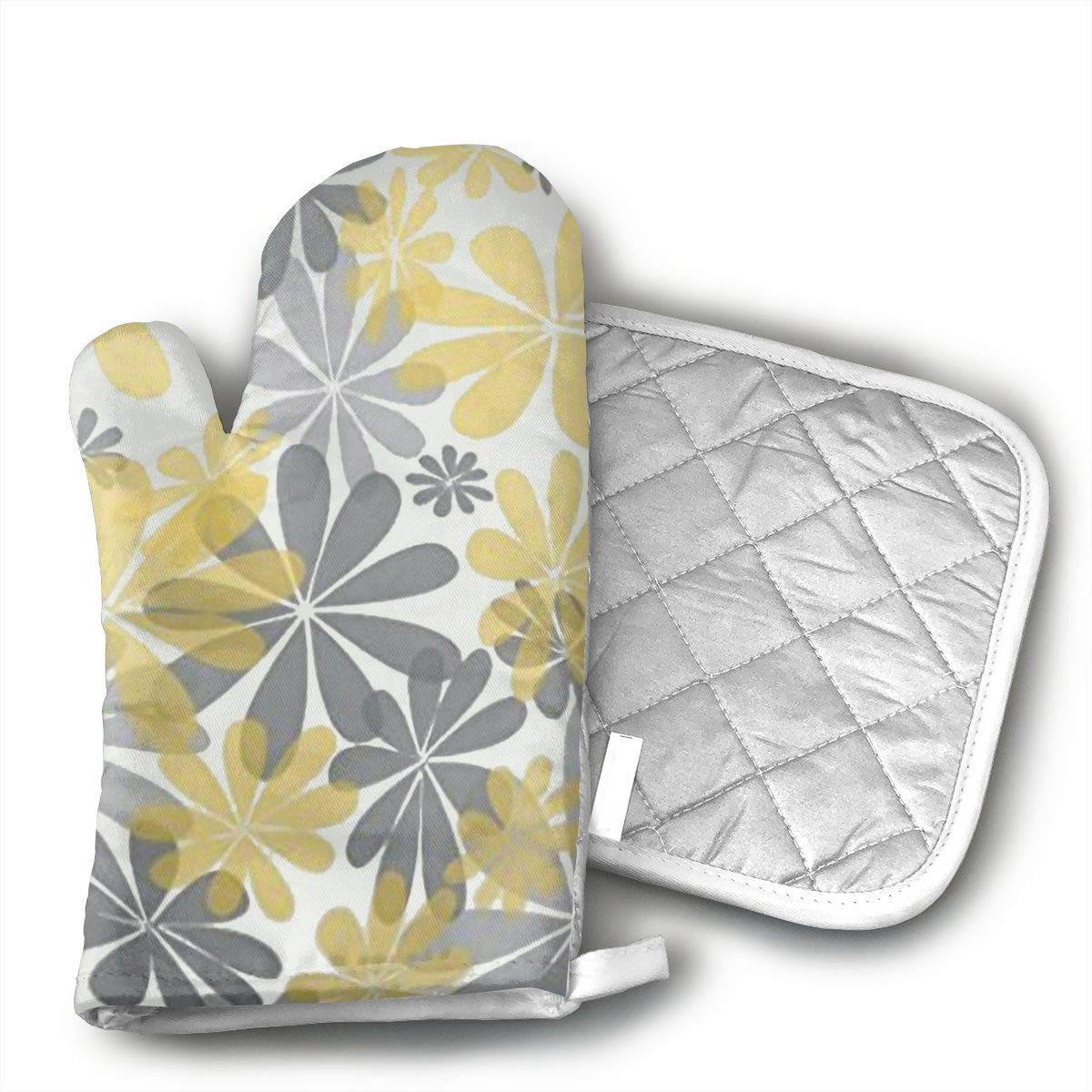 HGUIDHG Covers Gray and Yellow Modern Daisy with Oven Mitts+Insulated Square Mat,Heat Resistant Kitchen Gloves Soft Insulated Deep Pockets, Non-Slip Handles