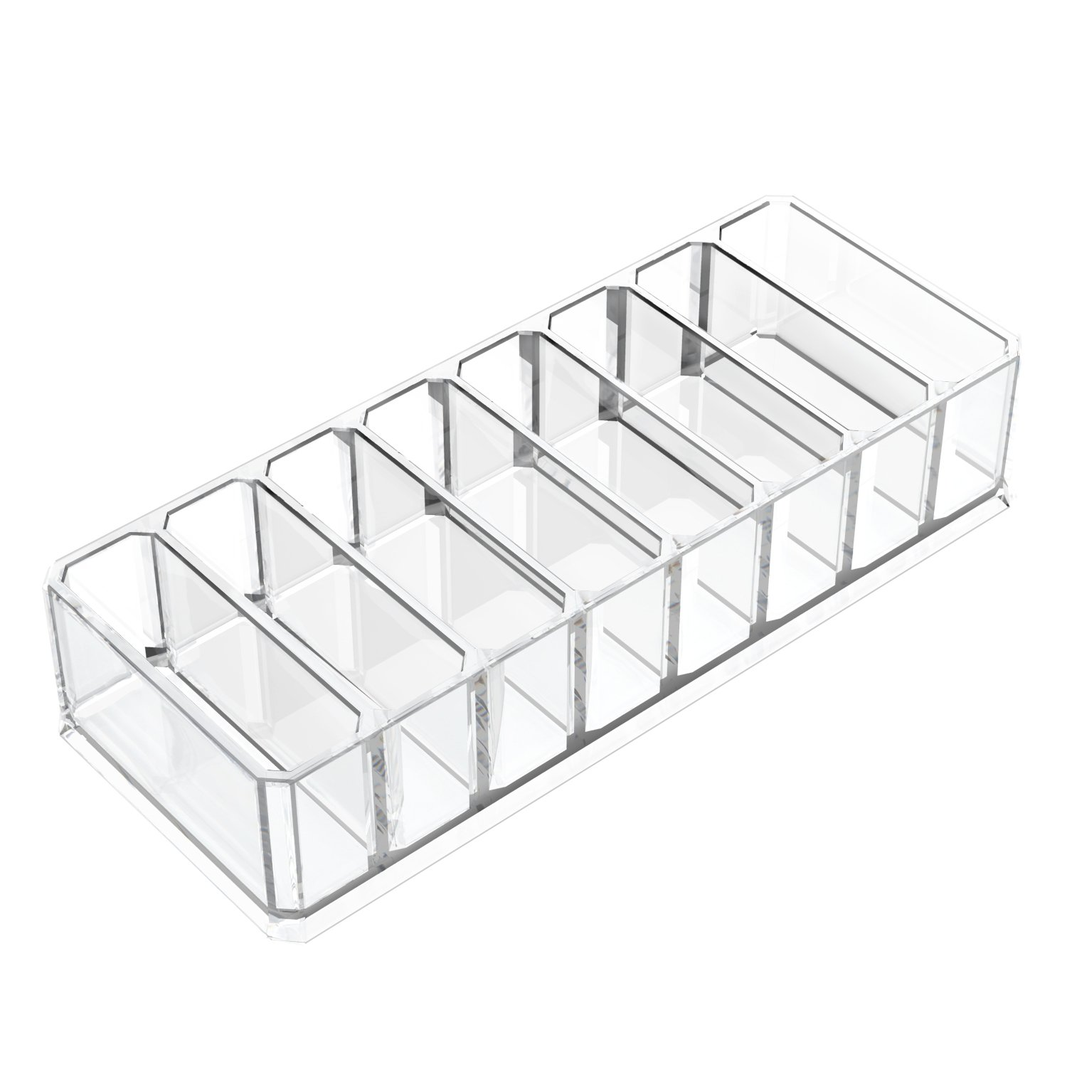 Acrylic Makeup Compact Powder Holder, Luxspire 8 Spaces Organizer Display Stand Cosmetic Makeup Storage Box for Cosmetics, Lipsticks, Blushes, Jewelries, and more