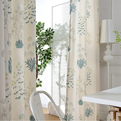 Blackout Curtains Teal Flower Drapes - Anady Top 2 Panel Print Floral Decro  Short Curtains Drapes for Bedroom Grommet 63 inch Long
