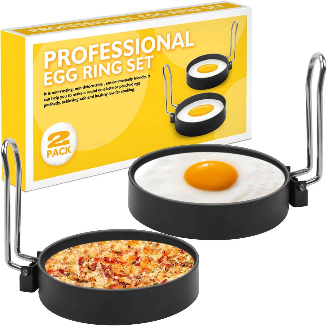 Dricroda Egg Ring, Egg Muffin Maker, Round Egg Mold Tool For Breakfast Fried Eggs Pancakes Sandwiches Biscuit, 3