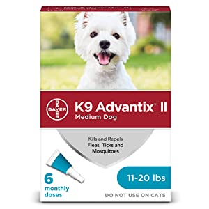 Bayer K9 Advantix II Flea, Tick and Mosquito Prevention for Dogs, 6 Dose
