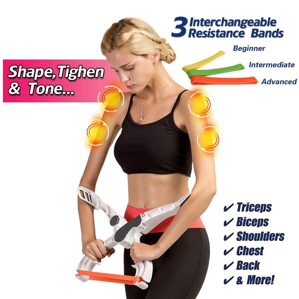 Máquina de ejercicio, brazo Brazo superior de ejercicios fuerza Fitness equipo con sistema 3 bandas de resistencia Entrenamiento para las mujeres: ...