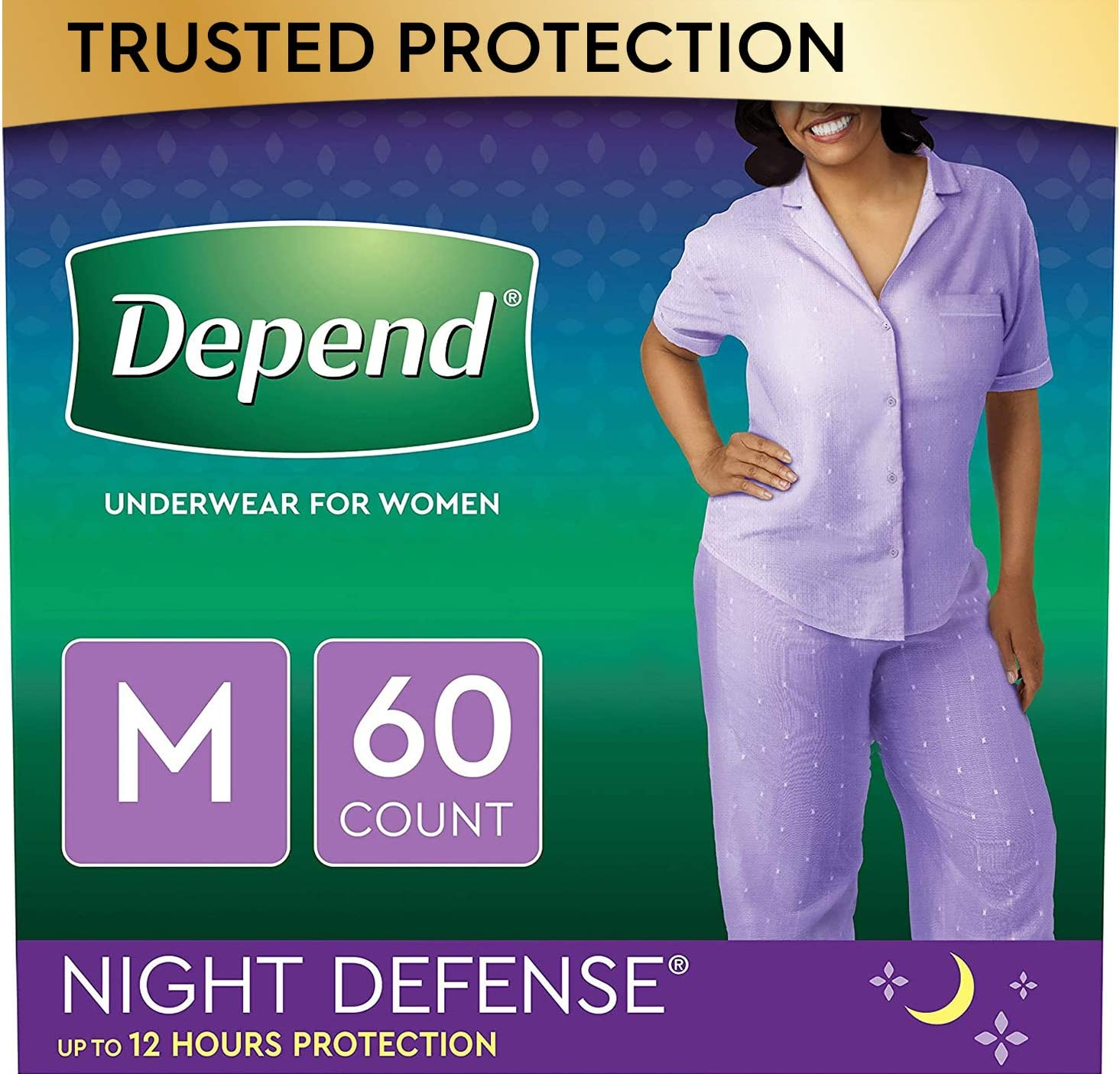 Depend Night Defense Incontinence Underwear for Women, Disposable, Overnight, Medium, Blush, 60 Count (4 Packs of 15) (Packaging May Vary): Health & Personal Care