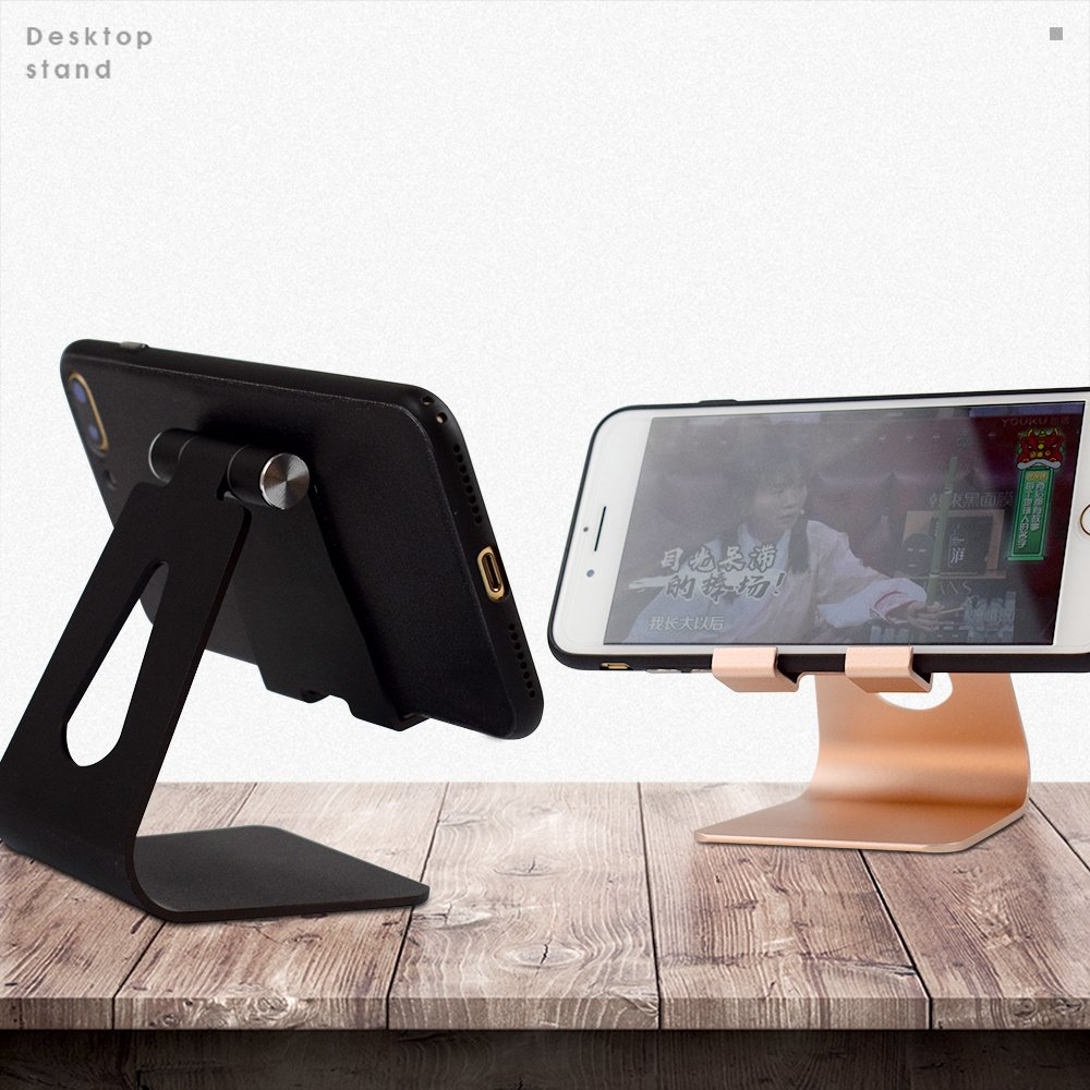 Adjustable Cell Phone Stand Multi-Angle, EUG Foldable iPad Stand Aluminum Mount Holder For Switch, Android Smartphone, iPhone 6 6s 7 8 X Plus 5 5s 5c Charging, Black