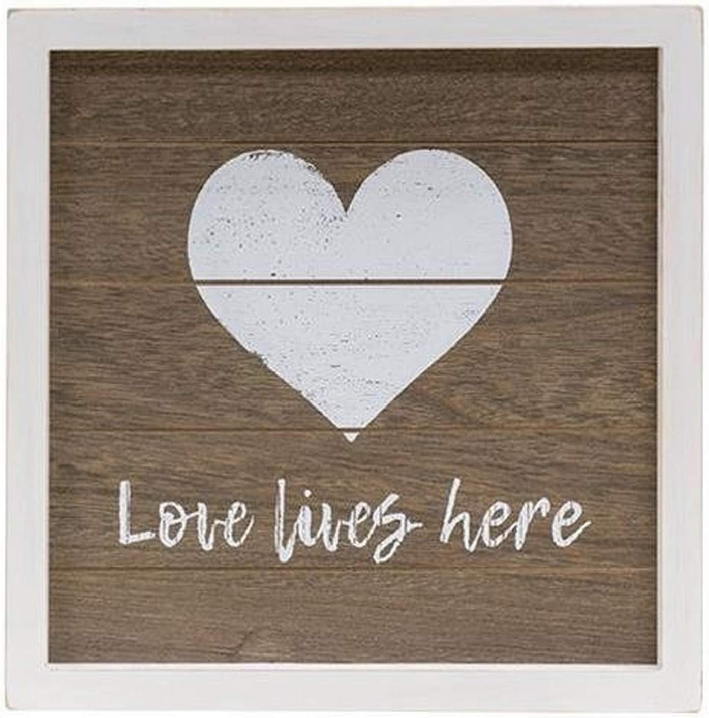CWI Gifts Love Lives Here White Framed Slat Board Sign with Easel Back, 10x10 inches, Multicolored