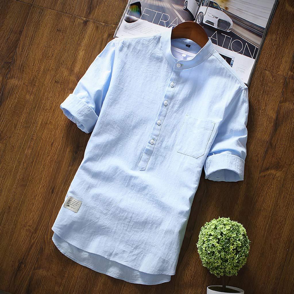 Imkacc Mens Big /& Tall Short-Sleeve Plaid Shirt fit Pocket Cotton Linen Pure Color T-Shirt