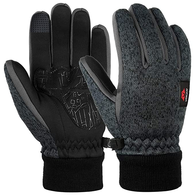 Men's Gloves Men Fashionable Winter Driving Warm Knitting Leather Suede Fabric Thicken Gloves