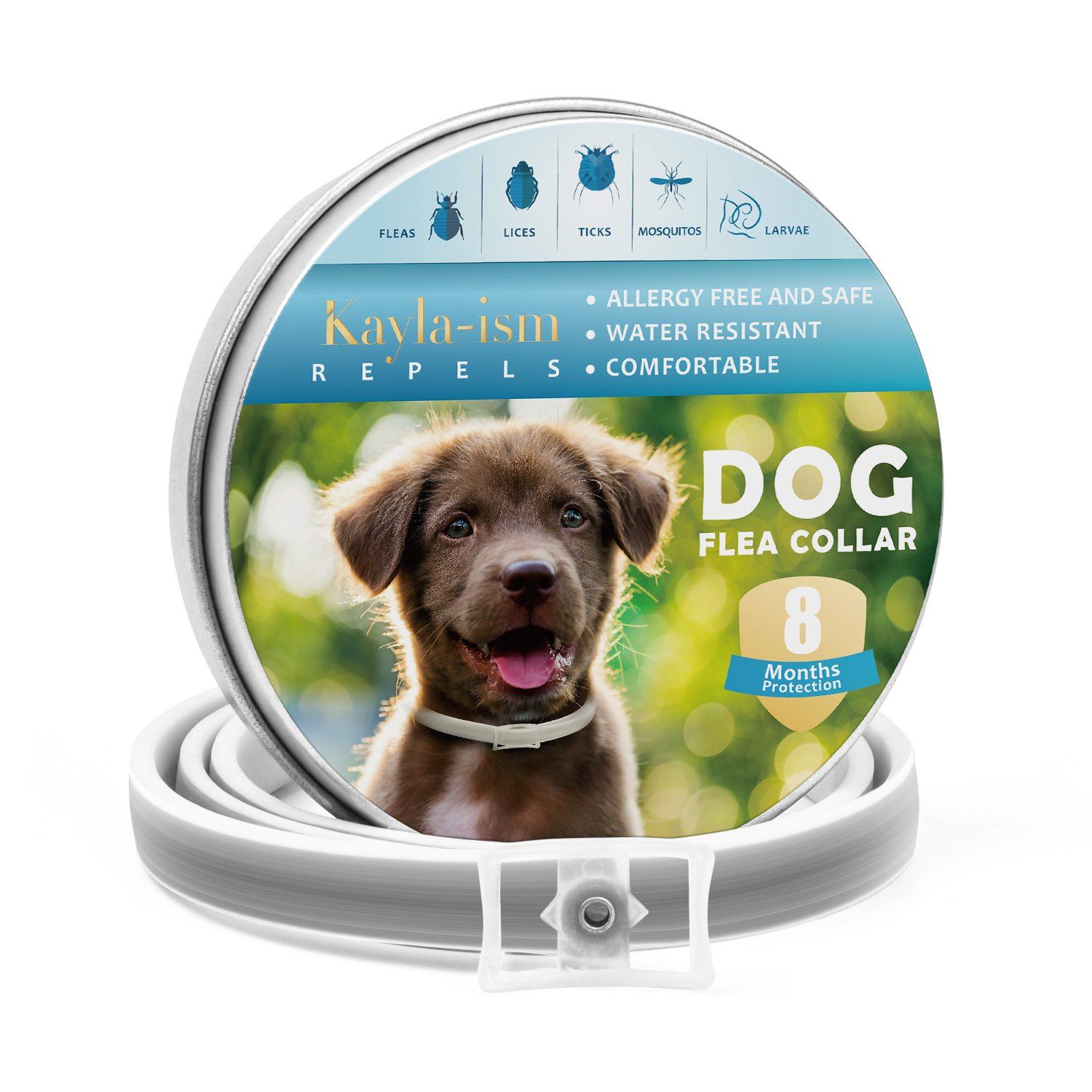 Kayla-ism Dog Flea Collar, Flea And Tick Collar For Dogs, Water-resistant, Natural And Safe Ingredients, Allergy Free, One Size Fits All, 14 Months Full Protection