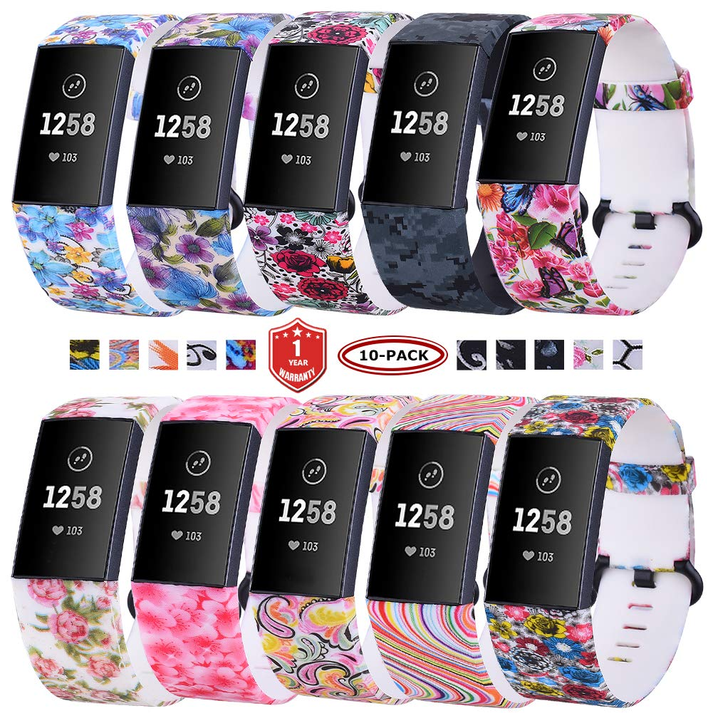 FunBand Compatible with Fitbit Charge 3 Strap Bands,Unique Elegant Floral Pattern Printed Soft Silicone Sport Adjustable Replacement Bracelet for Fitbit Charge 3 Fitness Activity Wristband by FunBand