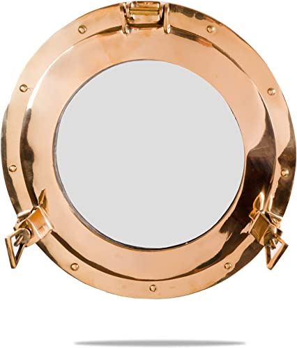 Coastal Space Designs Brass 14.75 Glass Porthole – 14.75 inch Shiny Finish – Boat Window Nautical Ship D cor – Maritime Fan Gift