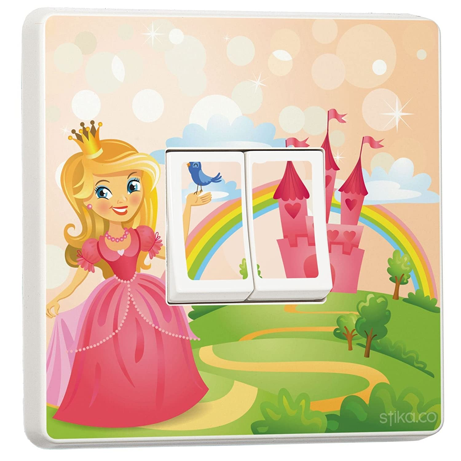 Fairy Princess and Roses Design for Double Light Switch Cover Vinyl Sticker stika.co