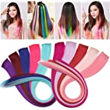 S-noilite 10pcs 22Inch Straight Colored Streak Hair Extensions Party Highlight Clip in Hair Extensions Color Hairpieces Strips Synthetic DIY Hair Decoration Cosplay for Fashion Girls