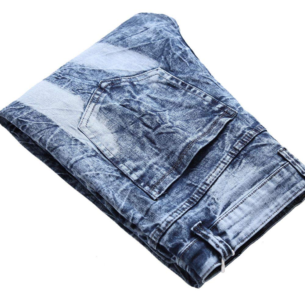 Colmkley Mens Destroyed Slim Fit Straight Leg Patchwork Jeans Pants with Patches