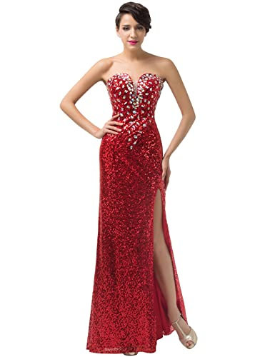 Grace Karin® Women's Sequins Strapless Long Gown Prom Evening Dresses