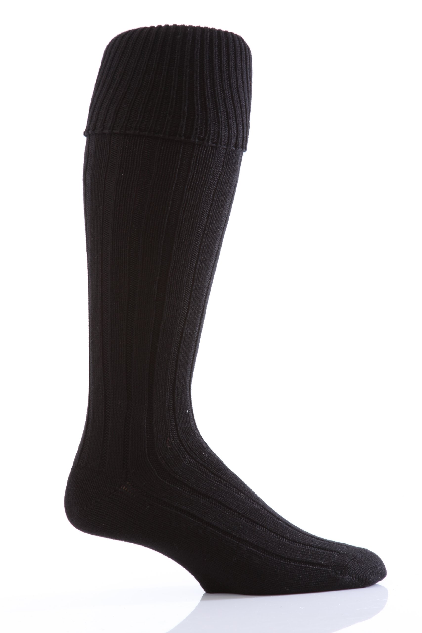 Glenmuir Men's 1 Pair Birkdale Golf Wool Knee High Socks with Turn Over Cuff 8-12 Black by Glenmuir