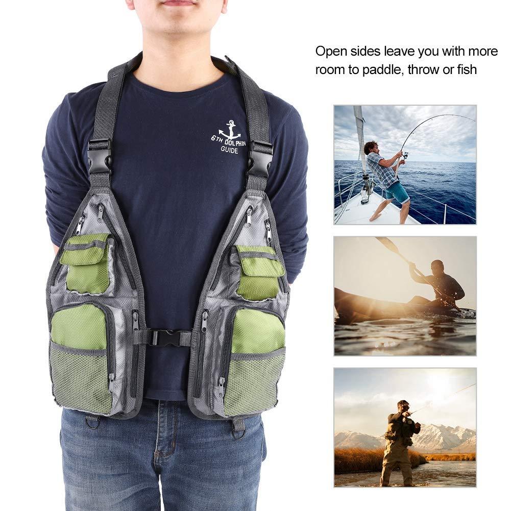 Alomejor Fishing Safety Life Jacket Multi Pockets Mesh Design Fishing Vest for Fishing Sailing