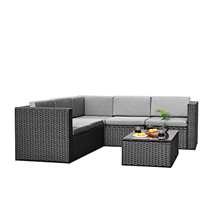 Sky Patio B1035 BL 4 Pieces Outdoor Furniture Complete Patio Wicker Rattan  Garden Corner Sofa