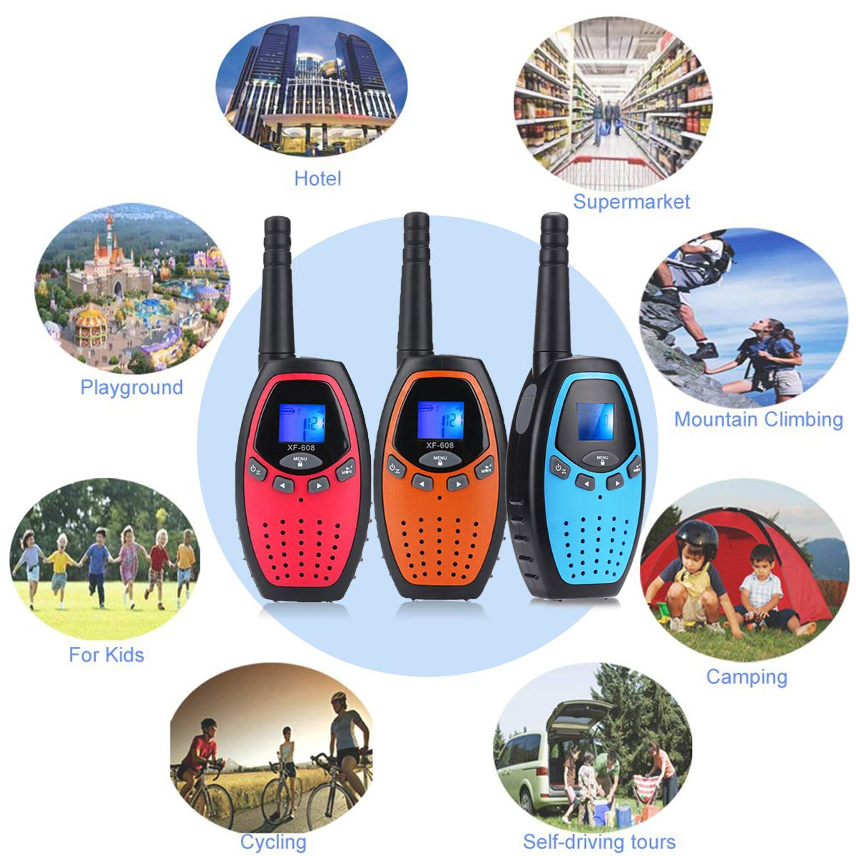 Fistone Walkie Talkies for Kids, 3 Packs 22 Channels 2 Way Radio Long Range Interphone Toys for Boy & Girls Age 3 6 7 8 9 12 Up for Outdoor Adventures, Camping, Hiking by Fistone (Image #3)