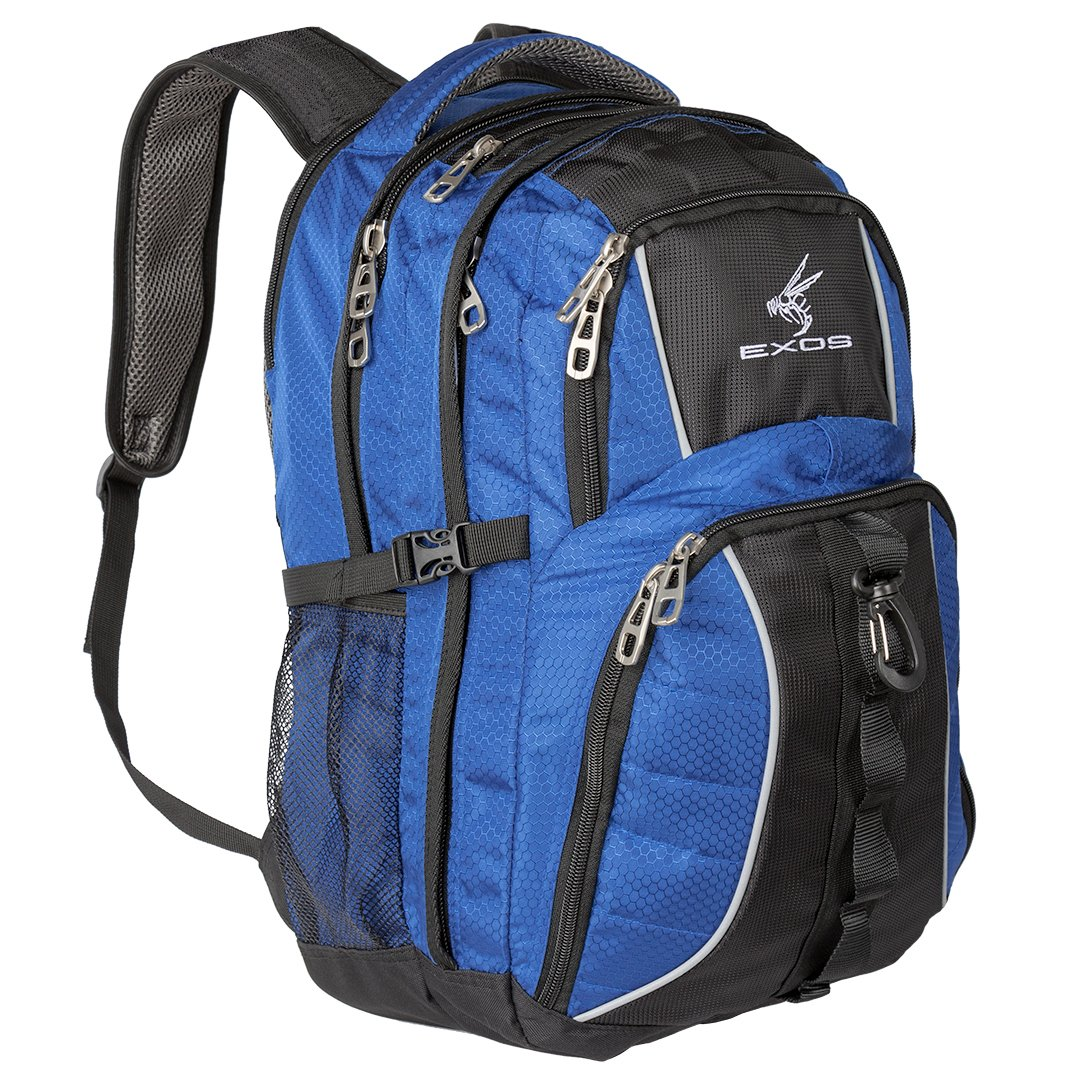 Exos Backpack, (laptop, travel, school or business) Urban Commuter by (Blue with Black Trim)