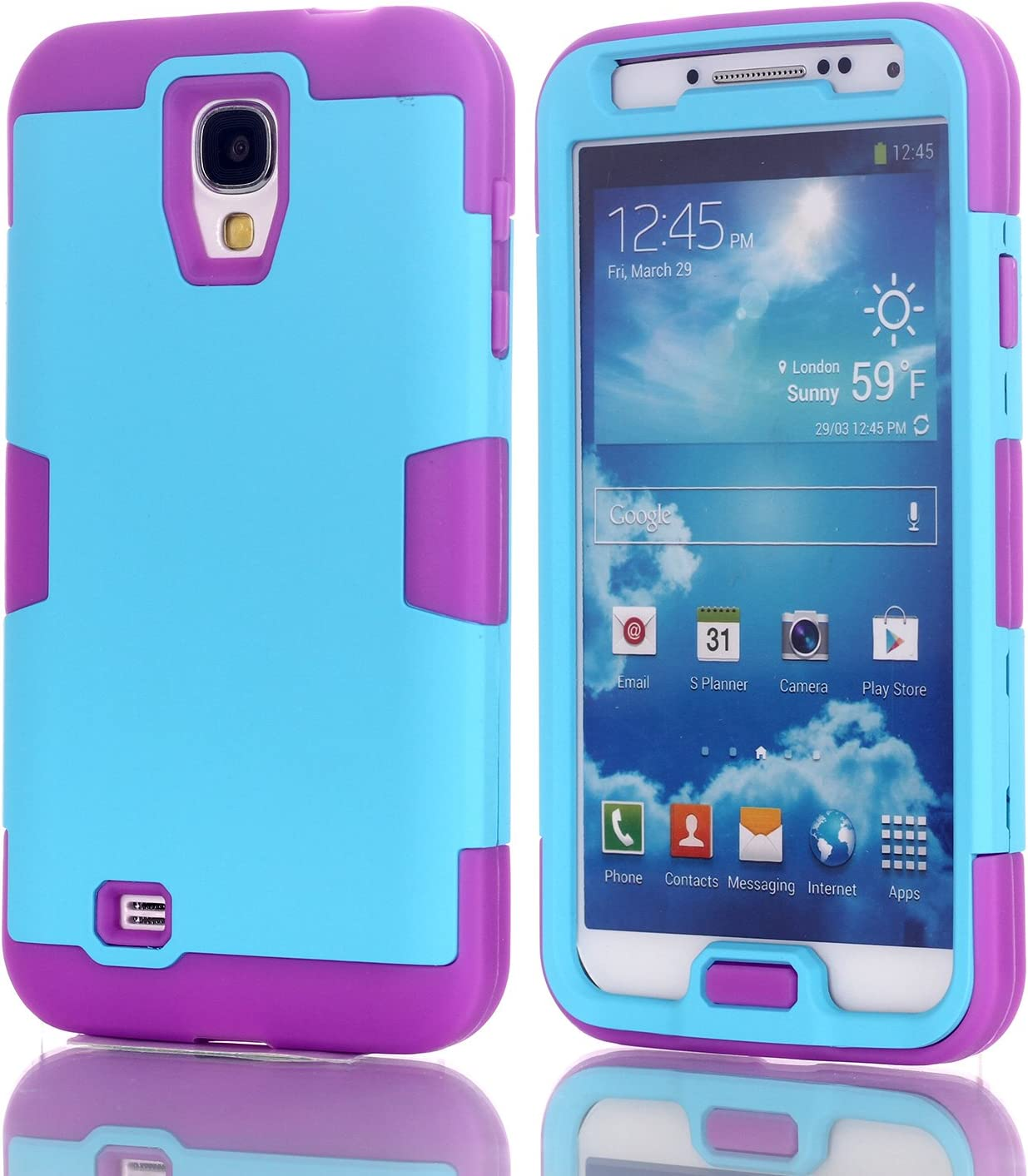 Galaxy S4 Case with Kickstand,Heavy Duty 3 Layer Armor Hybrid Shock Absorption Scratch Resistant TPU Grip Skin Silicone Full-Body Protective for Samsung Galaxy S4 Slim Thin Blue