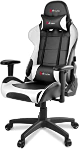 Arozzi Verona V2 Advanced Racing Style Gaming Chair with High Backrest, Recliner, Swivel, Tilt, Rocker and Seat Height Adjustment, Lumbar and Headrest Pillows Included, White