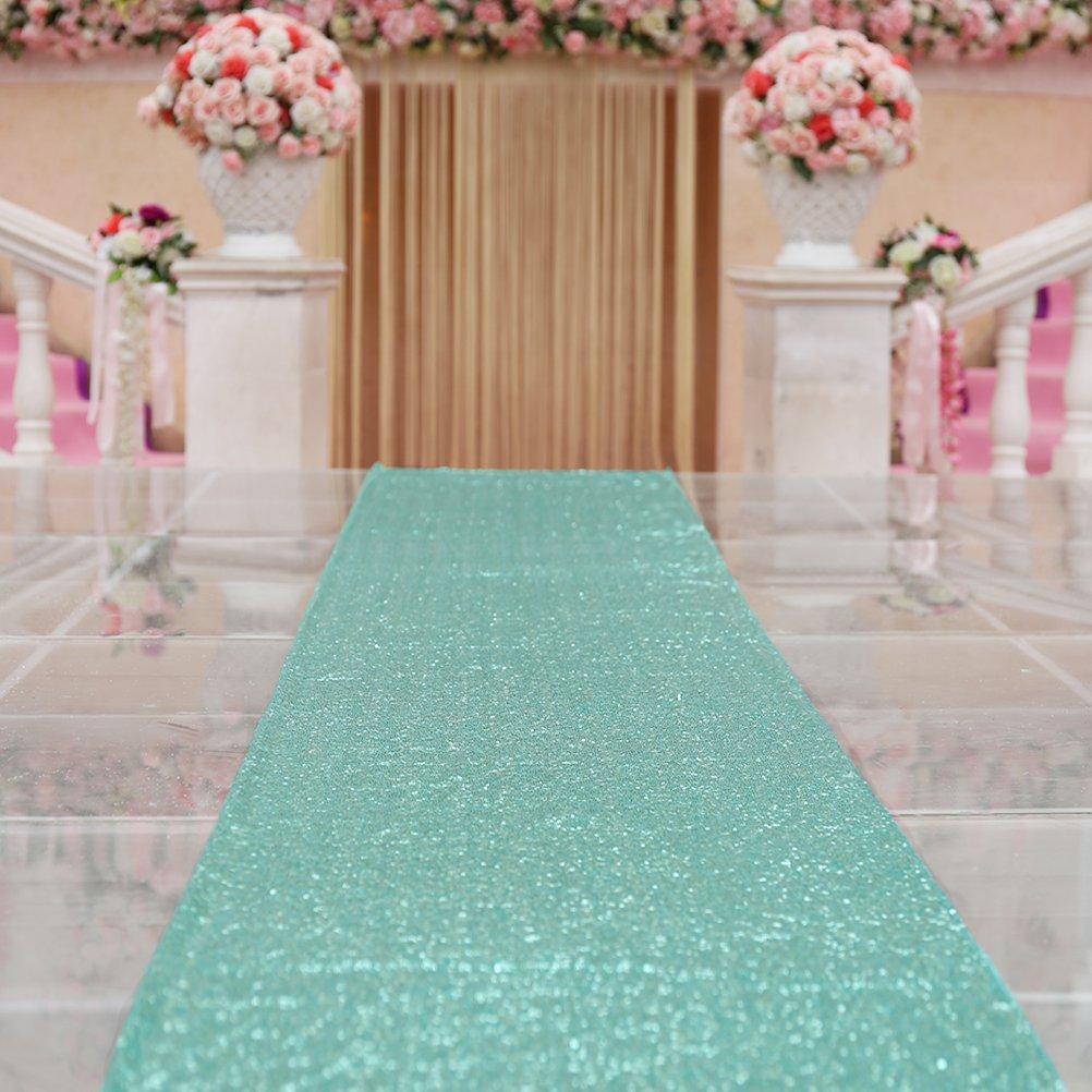 TRLYC Mint Wedding Aisle Runner Glitter Carpert Runner Outdoor Wedding Aisle Runner-4ftx20ft