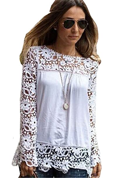 Shein Camisas - Para Mujer Blanco Blanco Medium: Amazon.es: Ropa y accesorios