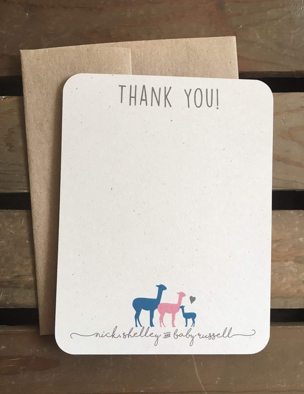 Llama Baby Shower Thank You Cards - Personalized - CUSTOM - From Family - Recycled - Eco Friendly - Gift Set