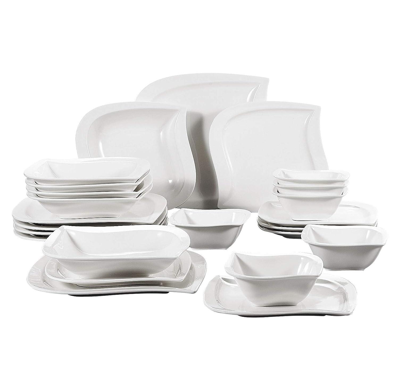 Malacasa, Série Elvira, 18pcs Assiettes Porcelaine, 6 Assiettes Plates, 6 Assiettes Creuse à Soupe Pâte, 6 Assiettes à Dessert Gâteau pour 6 Personnes