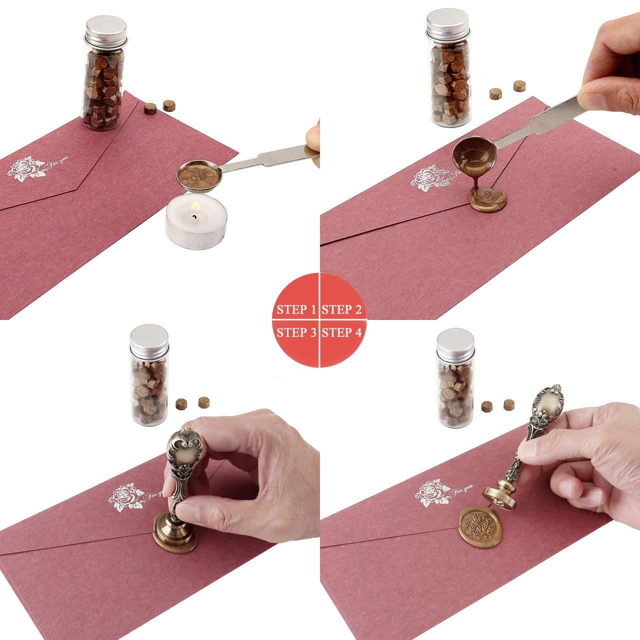 Schwarz-Wei/ß Bild Kundenspezifische Mogokoyo Customized Kundenspezifische Gravur Wachs Siegelstempel Stempel mit Bronze Griff Vintage Retro Kupfer Siegel Personalisierte Segen