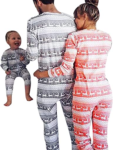 Lurryly❤Family Christmas Pajamas Set Sleepwear Christmas Pajamas for Family Clothes Outfit